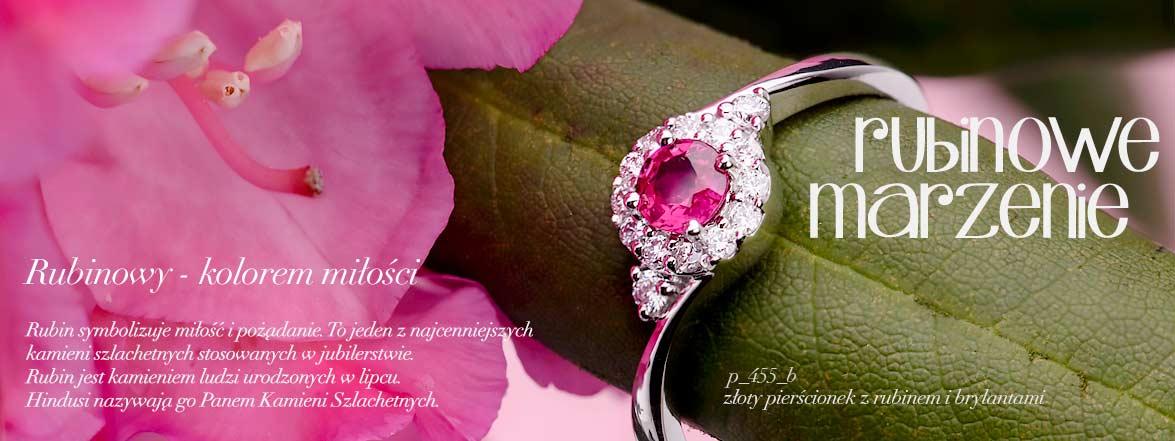 Pierścionki z rubinu - kamienia miłości.