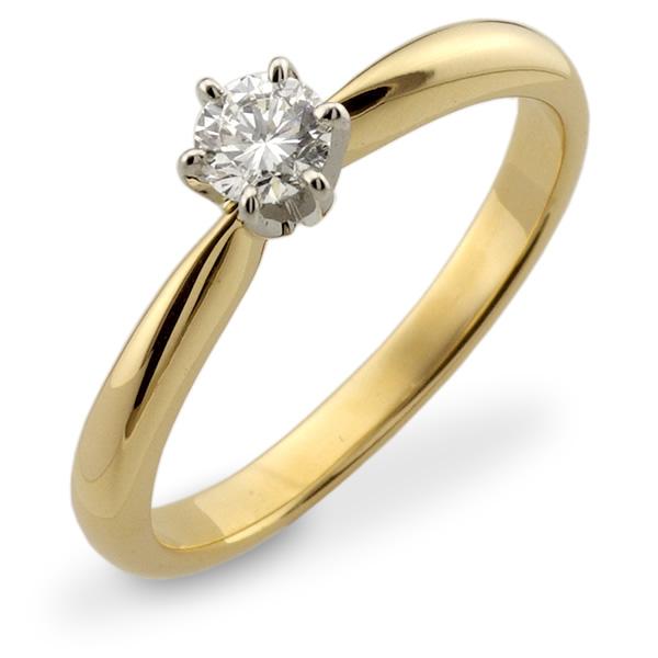 Zaręczynowa Klasyka Złoty Pierścionek Z Brylantem 024ct