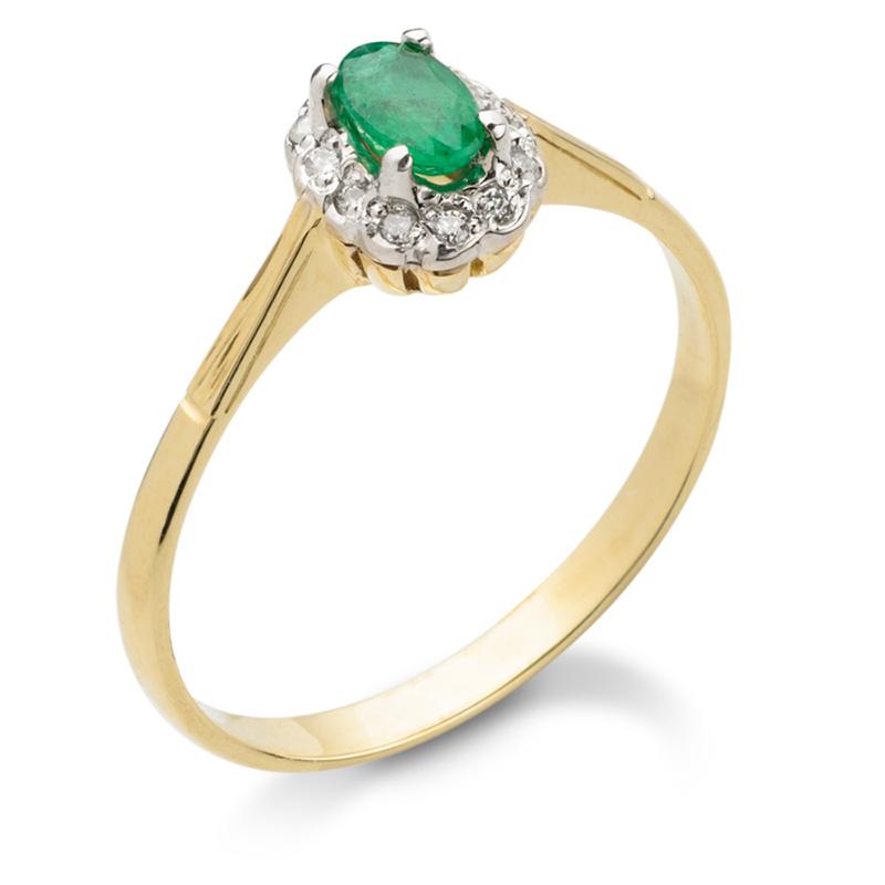 d97f2b10d755cd Zaręczynowy pierścionek z białego, polerowanego złota z przepięknym  szmaragdem i dwoma brylantami.