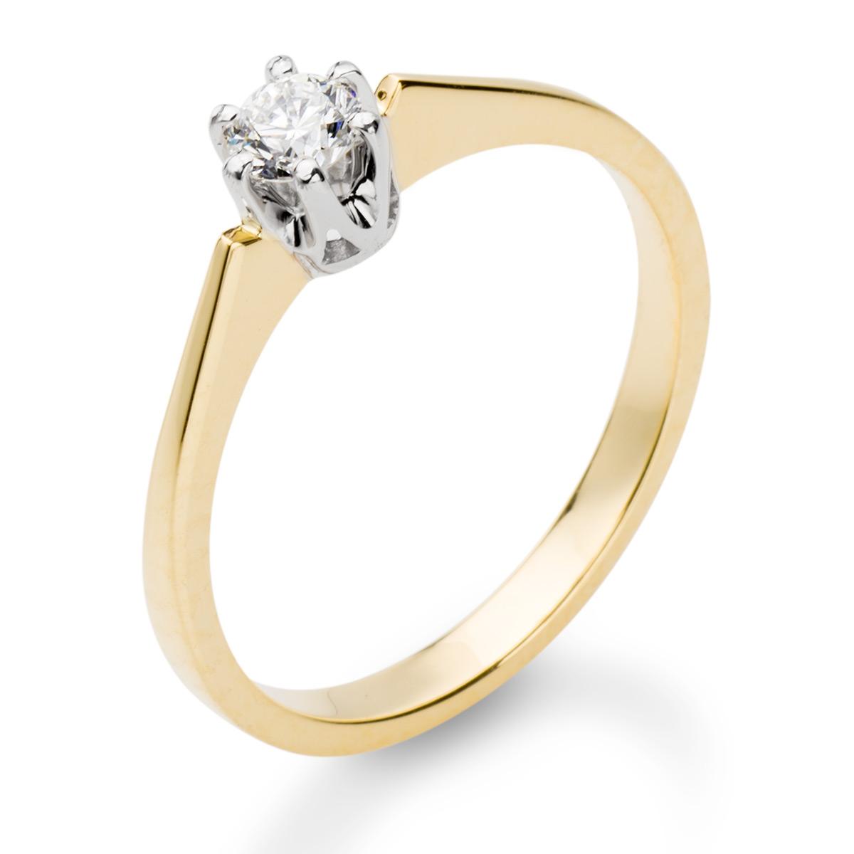 Zaręczynowy Złoty Pierścionek Z Brylantem 023ct Hvs2