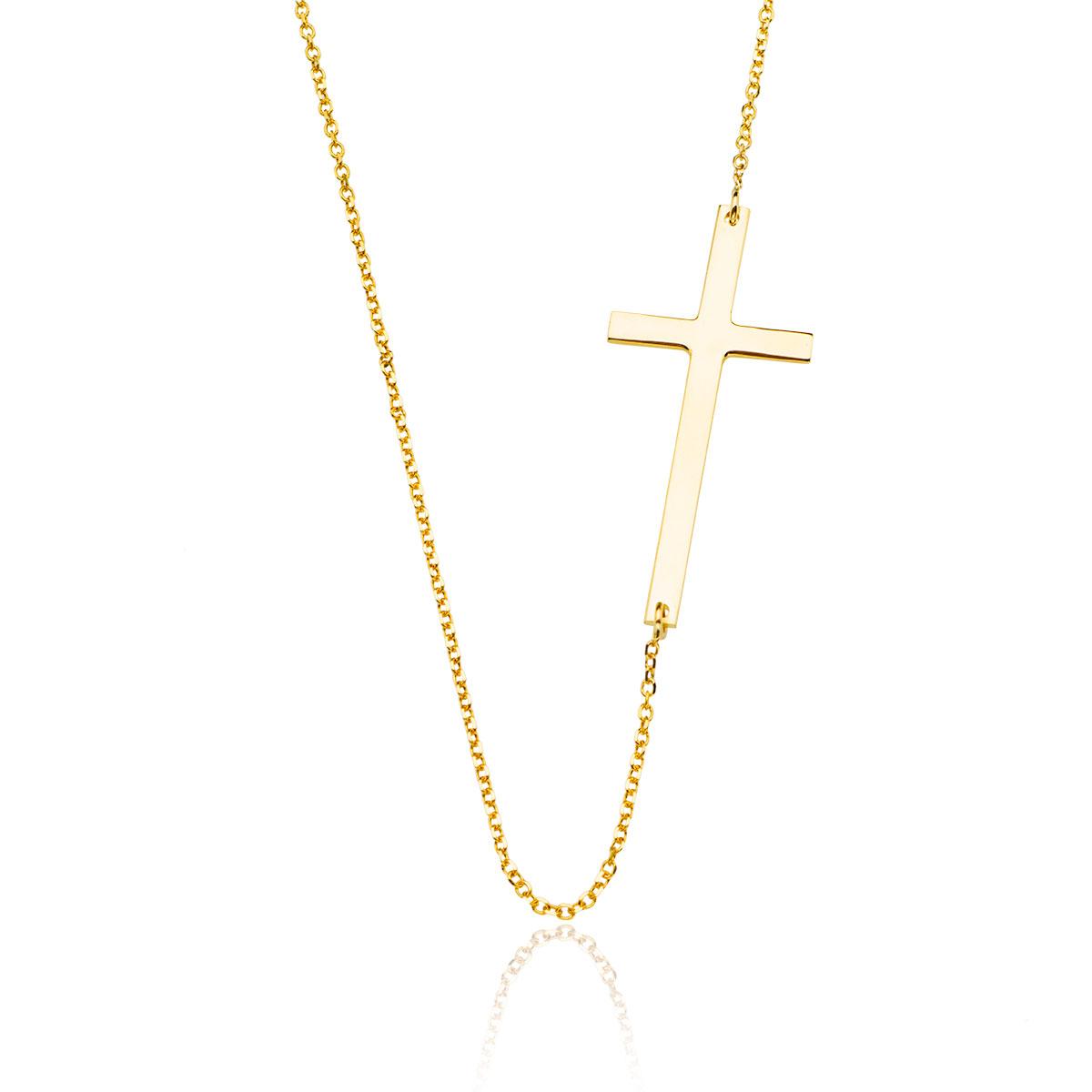1a6daf29f1e990 Złoty krzyżyk - naszyjnik celebrytki - złoto próby 585