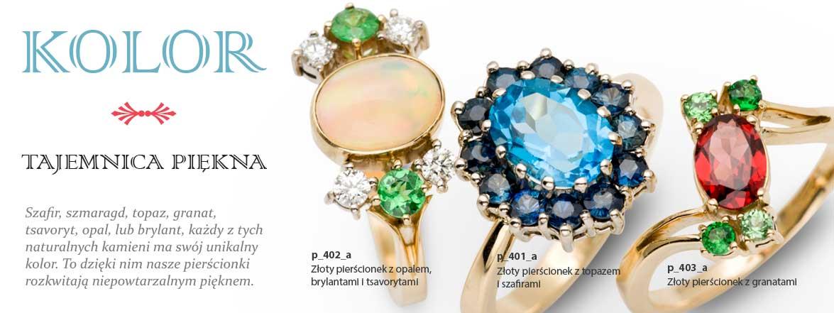 Pierścionki z kamieniami kolorowymi: z rubinem, szafirem, szmaragdem, ametystem, perydotem, opalem, granatem, topazem, ametystem.